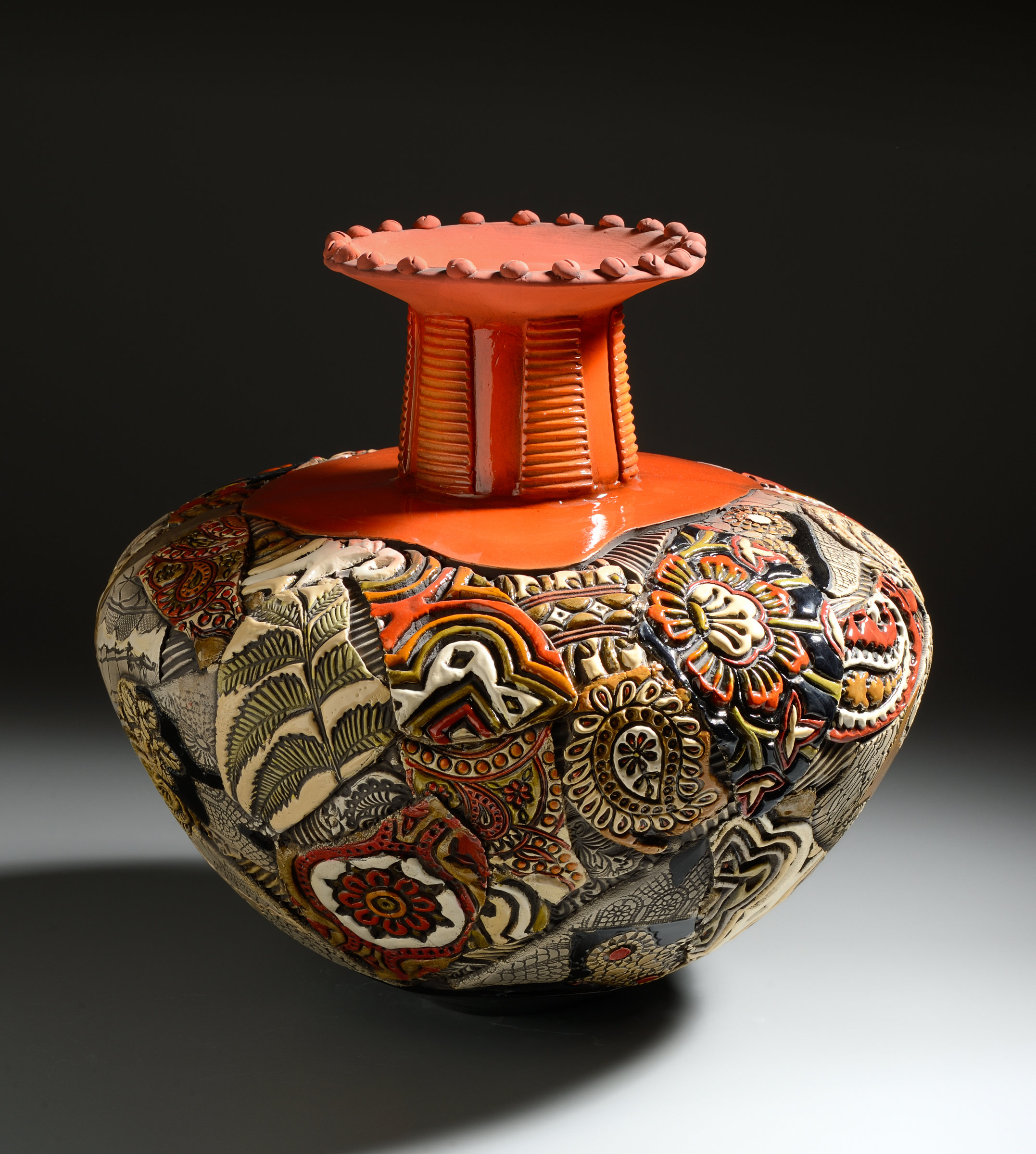 Extra Large Fluted Vessel In Oranges By Gail Markiewicz