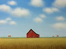 Red Barn in a Quiet Field by Sharon France (Acrylic Painting)