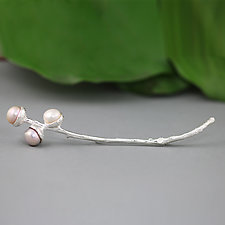 Sterling Silver Branch Brooch with Pearls by Sarah Hood (Silver & Pearl Brooch)