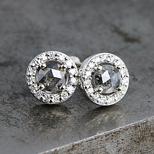 Diamond Halo Earrings with Rose Cut Diamonds by Sarah Hood (Gold & Stone Earrings)