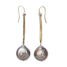 Twig Coin Pearl Earrings by Julie Cohn (Bronze & Pearl Earrings)