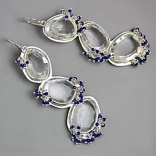 Meandering White Topaz with Lapis Fringe by Wendy Stauffer (Silver & Stone Earrings)