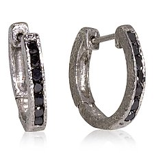 Hinged Hoop Earrings with Channel Set Black Diamonds by Rona Fisher (Palladium & Stone Earrings)