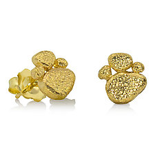 Pebble Gold Ear Studs by Rona Fisher (Gold Earrings)