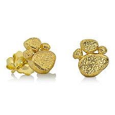Pebble Gold Ear Stud Earrings by Rona Fisher (Gold Earrings)