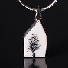 Porcelain House Shaped Pendant with Abstract Tree by Diana Eldreth (Ceramic Necklace)