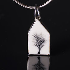 Porcelain House Shaped Pendant with Black Tree by Diana Eldreth (Ceramic Necklace)
