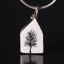 Porcelain House Shaped Pendant with Single Black Tree by Diana Eldreth (Ceramic Necklace)