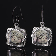 Reversible Square Porcelain Earrings with Forest Design by Diana Eldreth (Ceramic Earrings)