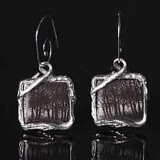 Reversible Porcelain Square Earrings with Forest Design by Diana Eldreth (Ceramic Earrings)