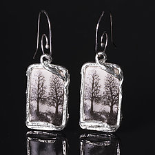 Reversible Rectangle Porcelain Earrings with Trees and Path Design by Diana Eldreth (Ceramic Earrings)