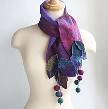 Forest Scarf in Merlot, Purple and Green by Mila Sherrer  (Silk & Wool Scarf)