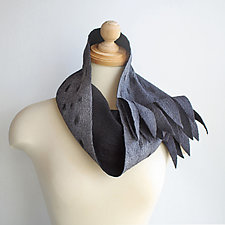Driftwood Infinity Scarf in Gray, Black Wool and Silk by Mila Sherrer  (Silk & Wool Scarf)