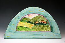 Arch Tile, Tuscan Farm by Peggy Crago (Ceramic Wall Sculpture)