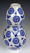 Porcelain Butterfly Vase by Lin Xu (Ceramic Vase)