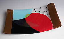 Simple Planes Fused and Slumped Glass Tray #3 by Nina  Cambron (Art Glass Tray)