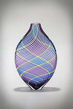 Multicolor Cane Vessel in Violet by Michael  Hermann and Gina Lunn (Art Glass Vessel)