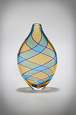 Multicolor Cane Vessel in Amber by Michael  Hermann and Gina Lunn (Art Glass Vessel)