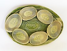 Spiral Seder Plate with Cups by Janine Sopp (Ceramic Seder Set)