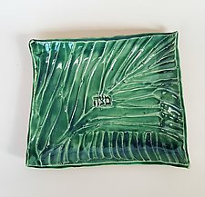 Carved Stripe Matzoh Plate by Janine Sopp (Ceramic Plate)
