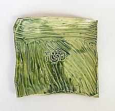 Carved Stripe Matzoh Plate II by Janine Sopp (Ceramic Plate)
