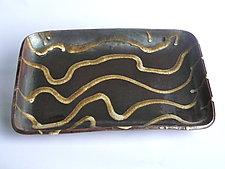 Rectangular Stoneware Platter - Wheat Grass on Temmoku Motif by Michael Jones (Ceramic Platter)