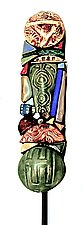 Lucky Six Garden Totem by Cathy Gerson (Ceramic Sculpture)
