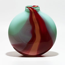 Opaque Ribbon Flat Vase in Celadon, Strawberry & Flamingo by Michael Trimpol and Monique LaJeunesse (Art Glass Vase)