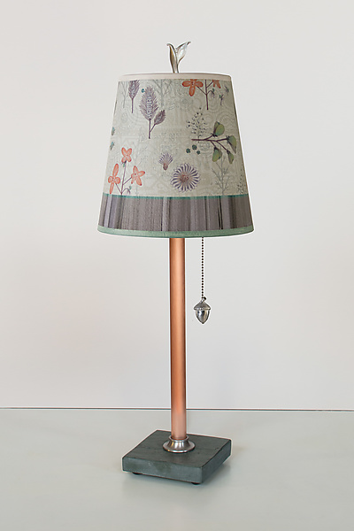 Copper Table Lamp with Small Drum Shade in Flora and Maze