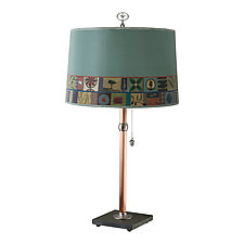 Copper Table Lamp with Large Drum Shade in Tesserae by Janna Ugone and Justin Thomas (Mixed-Media Table Lamp)