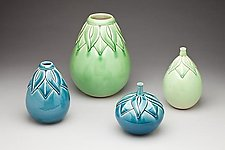 Eggplant vases by Lynne Meade (Ceramic Vessel)