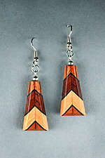 Trapezoid Leaf Earrings by Martha Collins (Wood Earrings)