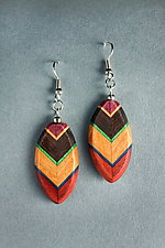 Oval Leaf Earrings by Martha Collins (Wood Earrings)