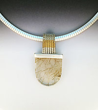 Sigma Woven Bale Pendant with Large Rutilated Quartz by Marie Scarpa (Silver & Stone Necklace)