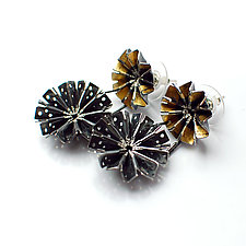 Double Blossom Earrings 1 by Sophia Hu (Gold & Silver Earrings)
