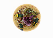 Bumblebee Trio with Morning Glory Miniature Paperweight by Clinton Smith (Art Glass Paperweight)