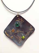 Interwoven Square Necklace by Suzanne Schwartz (Gold, Silver, & Stone Necklace)