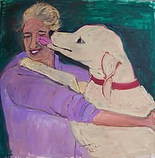 The Kiss (Woman and Dog) by Elisa Root (Oil Painting)
