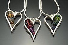 Small Heart Necklaces by Ashka Dymel (Silver & Stone Necklace)