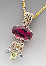 Pink Tourmaline Sigma Pendant by Marie Scarpa (Gold & Stone Necklace)