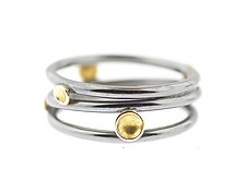 Lichen Tornado Three Band Ring by Renee Ford (Gold & Silver Ring)