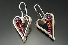 Heart Earrings in Red by Ashka Dymel (Silver & Stone Earrings)