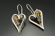 Heart Earrings Labradorite and Honey by Ashka Dymel (Silver & Stone Earrings)