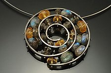 Big Spiral Necklace by Ashka Dymel (Silver & Stone Necklace)