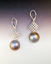 Mesh Diamond Leverbacks with Japanese Mabe Pearl by Marie Scarpa (Silver & Pearl Earrings)