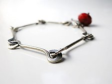 Bar Bracelet with Ruby Quartz by Erica Stankwytch Bailey (Silver & Stone Bracelet)