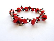 Red Jade Bridle Bracelet by Erica Stankwytch Bailey (Silver & Stone Bracelet)