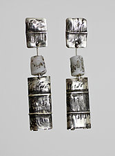 Oxidized, Textured, and Rolled Squares with Beads by John Siever (Art Glass & Silver Earrings)
