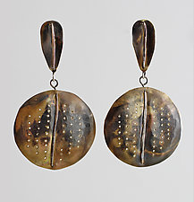Oxidized Brass Circles with Hammered Wire & Perforations by John Siever (Brass Earrings)