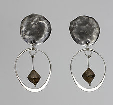 Oxidized Circles with Wire Hoops & Beads by John Siever (Silver Earrings)
